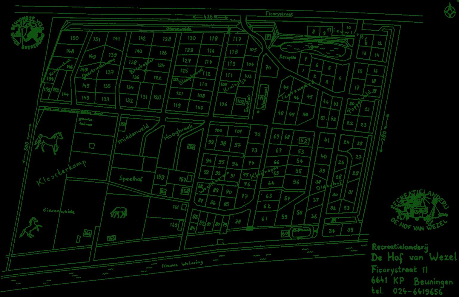 plattegrond Recreatielanderij De Hof van Wezel